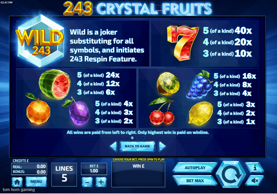 243 Crystal Fruits Bonus