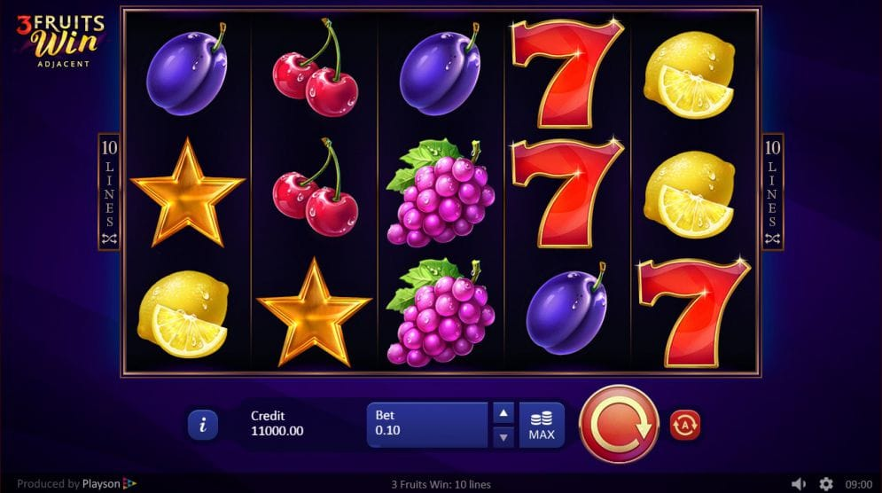 3 Fruits Win: 10 Lines Slots Online