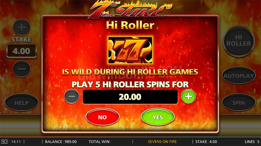 Play 7s on Fire Slots Features