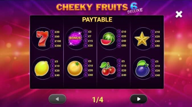 Cheeky Fruits 6 Deluxe Slot Symbols