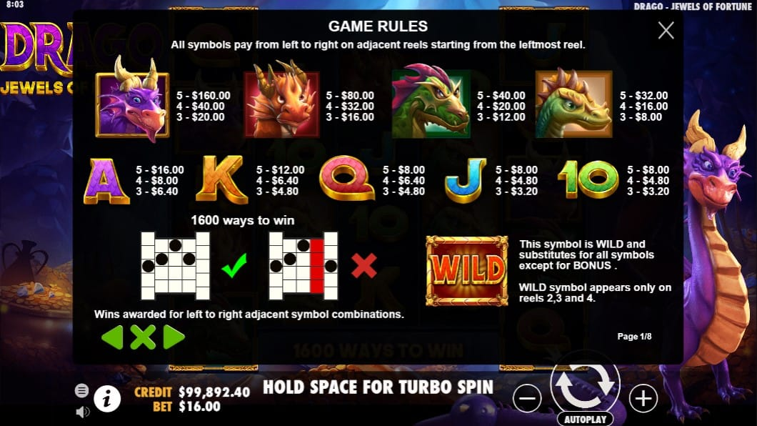 Drago Jewels of Fortune Slot Symbols