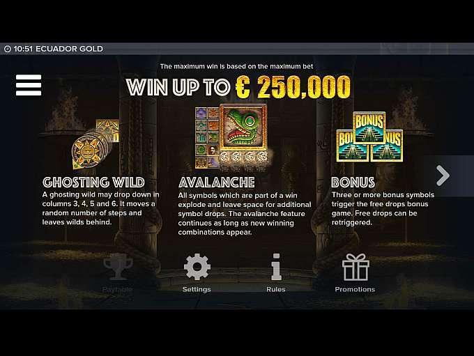 Ecuador Gold Slot Features