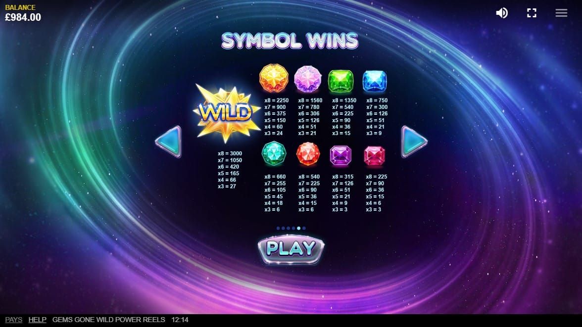 Gems Gone Wild Power Reels Slots Paytable