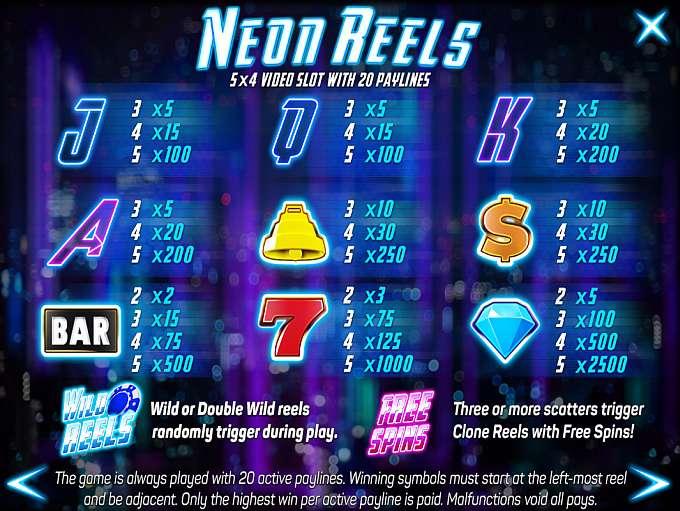 Neon Reels Symbols