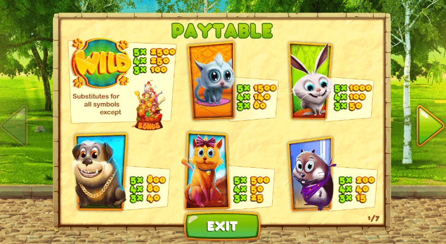 Pets Slot Paytable