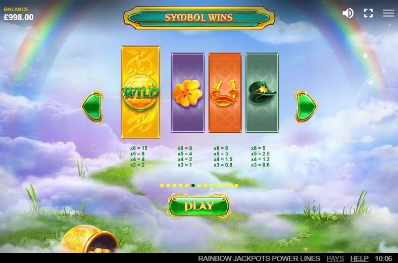 Rainbow Jackpots Power Lines Slot Symbols
