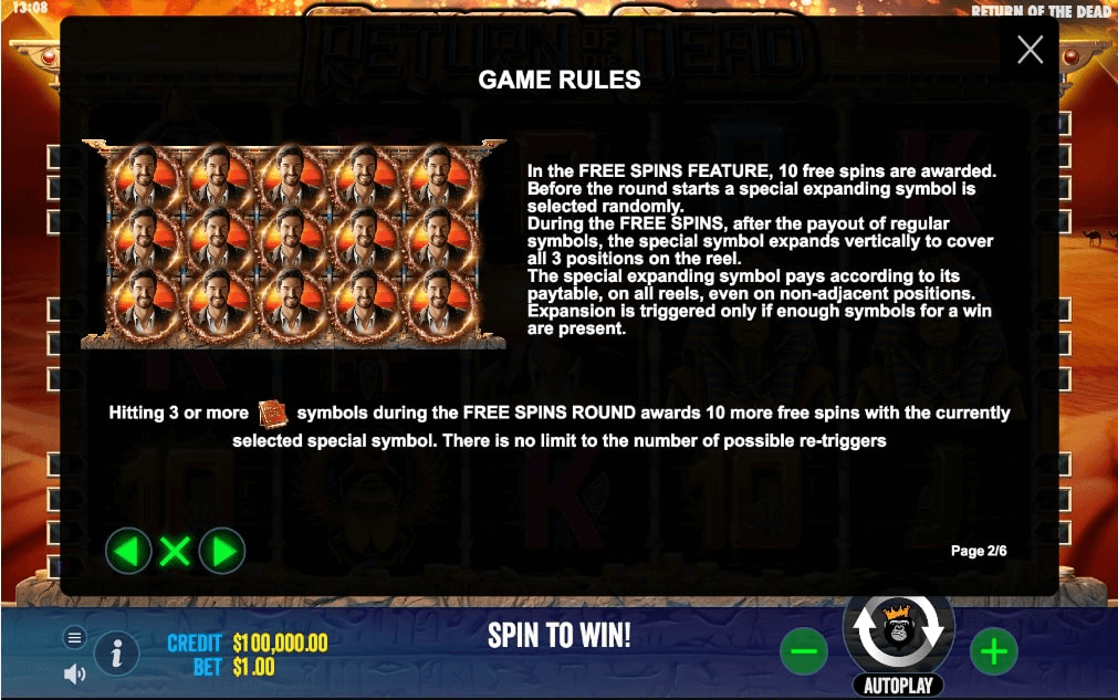 Return of the Dead Slot features