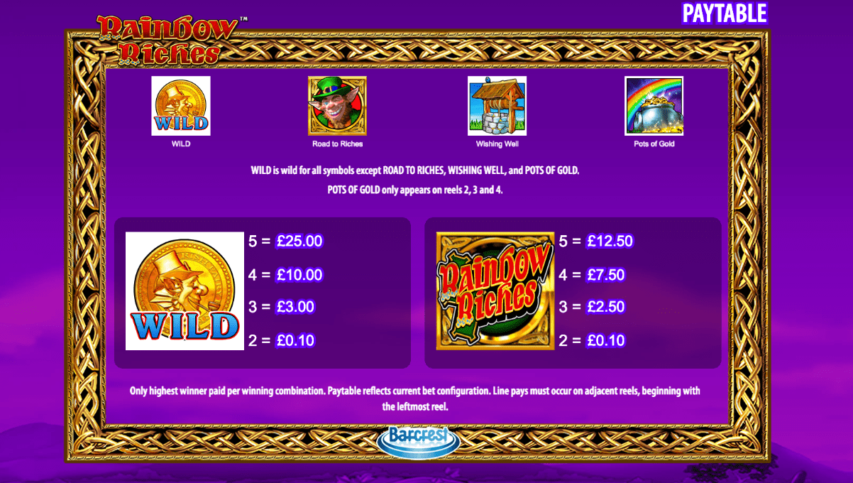 rainbow riches game online slots
