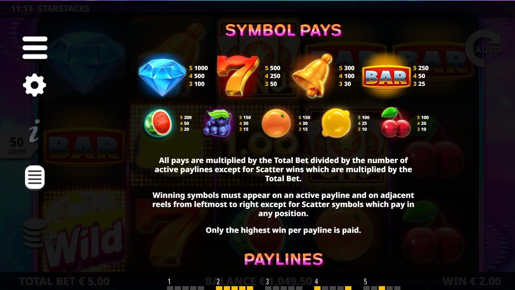 Star Stacks Slot Paytable