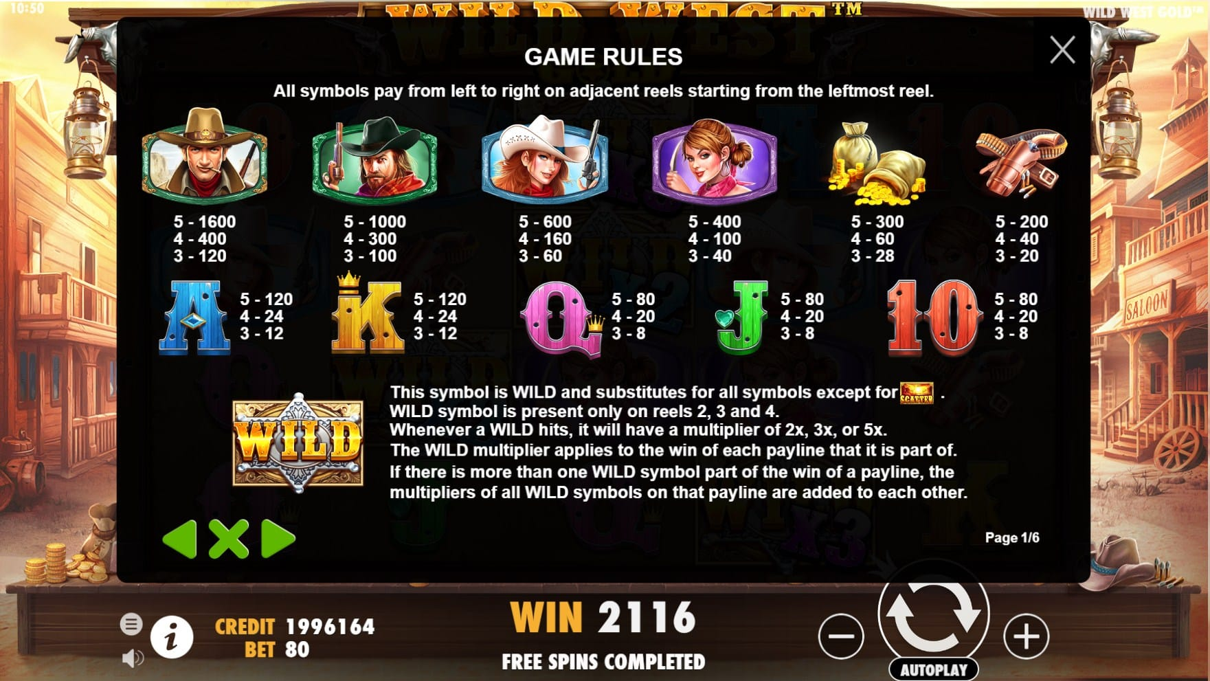 Wild West Gold Slots Paytable