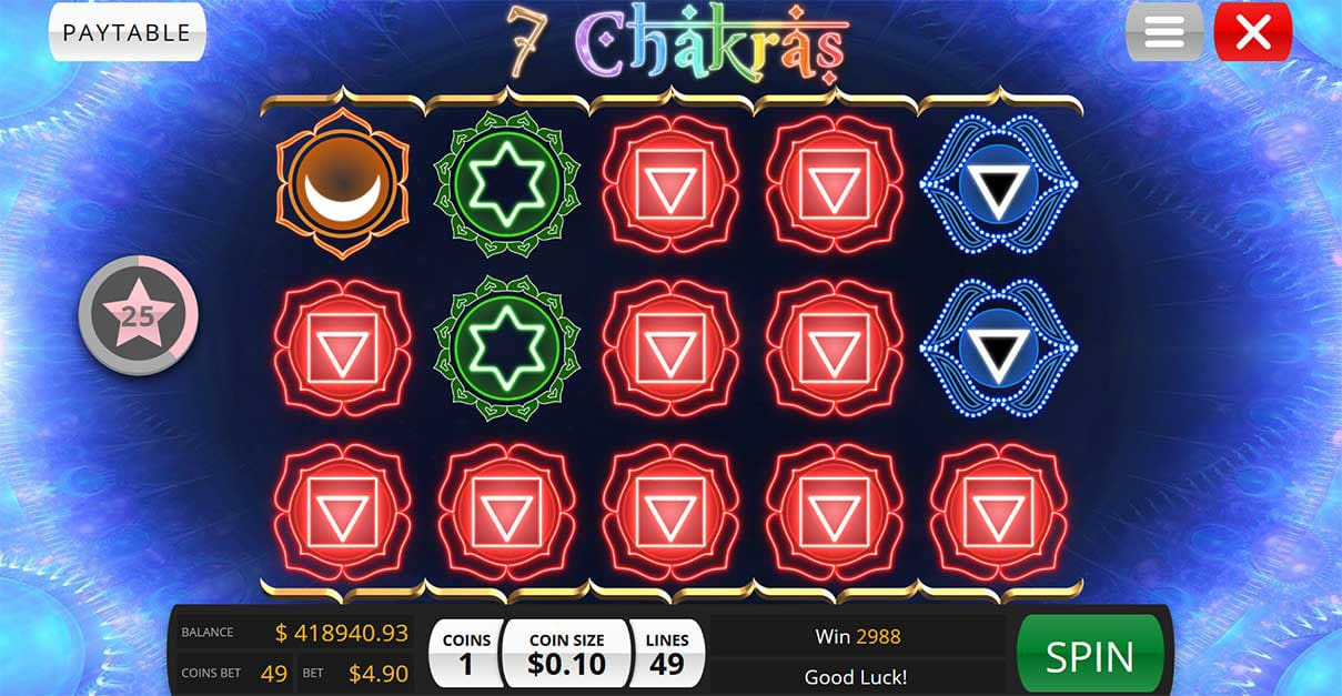 7 Chakras slot gameplay