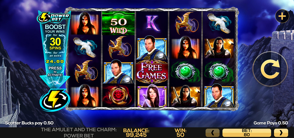 About The Amulet and the Charm Power Bet casino game