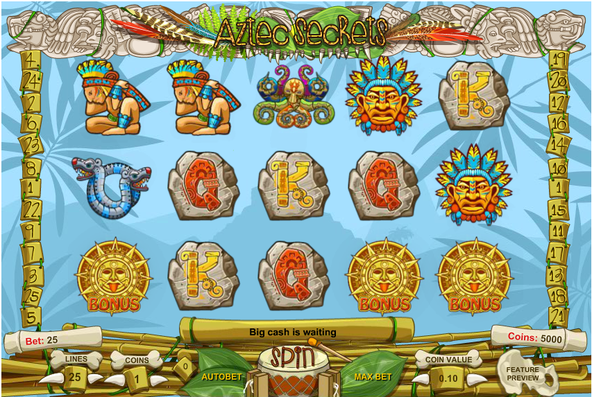 Gameplay from Aztec Secrets slot
