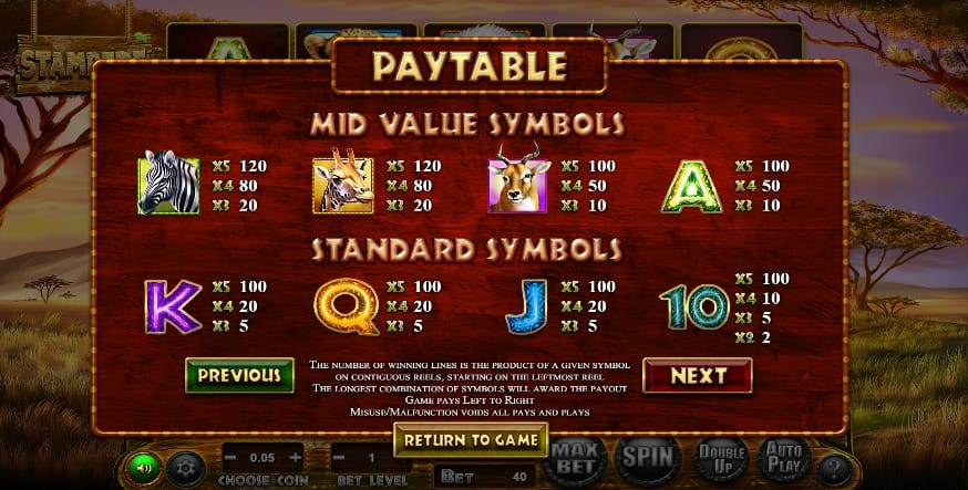 Stampede Jackpot Slots Paytable