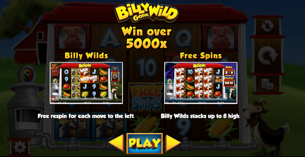 Billy Gone Wild Slot Features