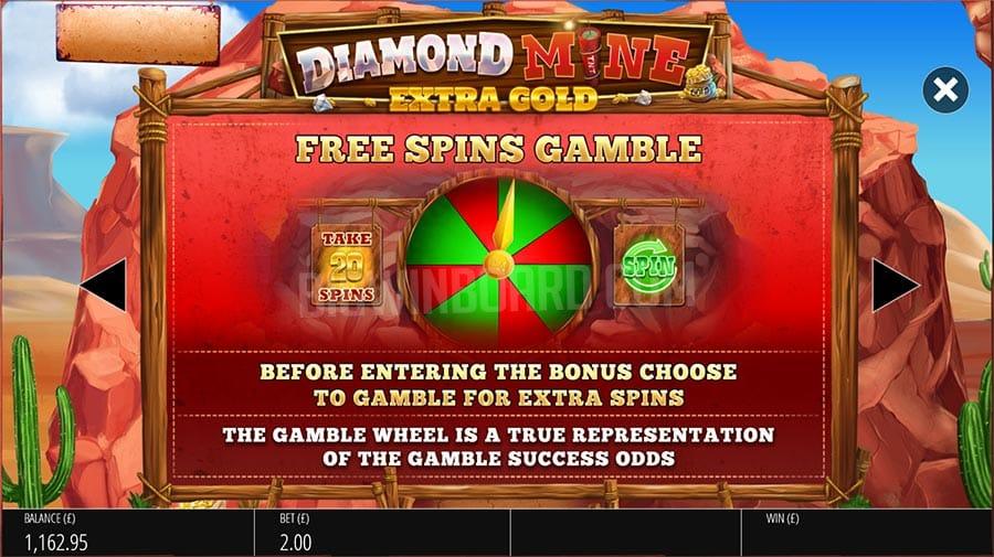 Diamond Mine: Extra Gold Megaways Free Spin Gamble