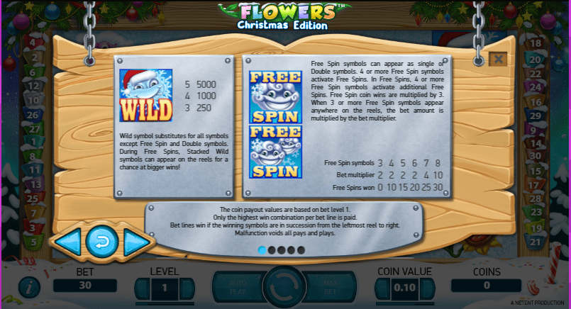 Flowers Paytable
