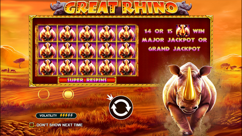 Great Rhino UK Casino Game Play