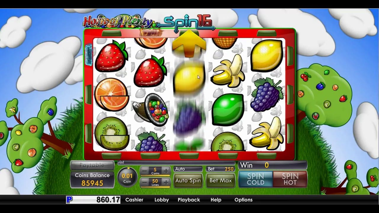 Horn of Plenty Spin 16 Slots UK Game