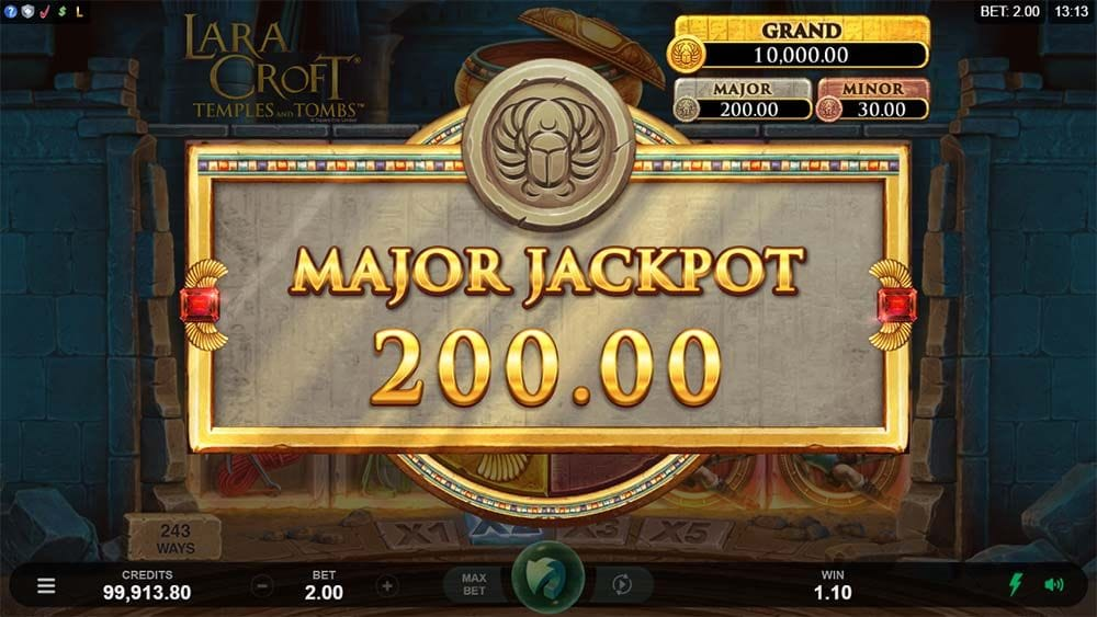 Lara Croft Temples and Tombs jackpot slots