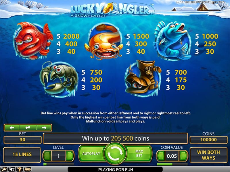 Lucky Angler Slot Symbols