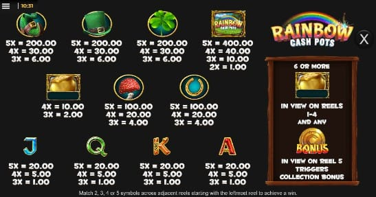 Rainbow Cash Pots Slot Paytable