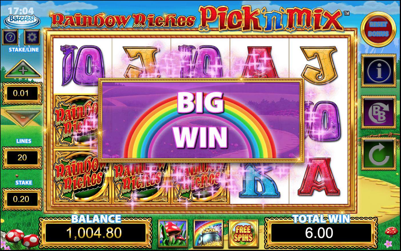 rainbow riches pick n mix free slots