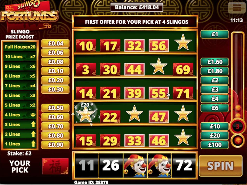 Slingo Fortunes Slots Bonus