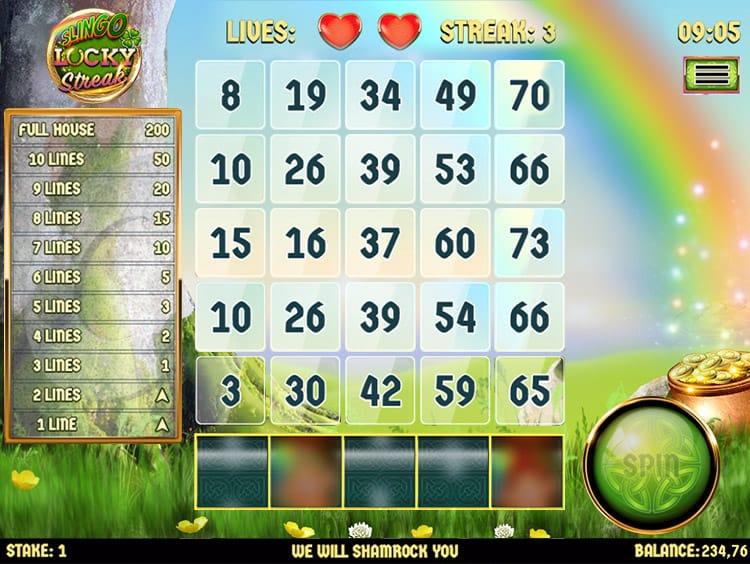 Slingo Lucky Streak Slots Gameplay