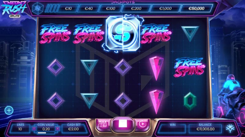 Neon Rush Splitz Slots Game