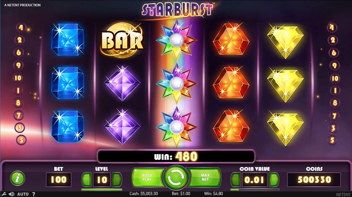 Starburst gameplay slot