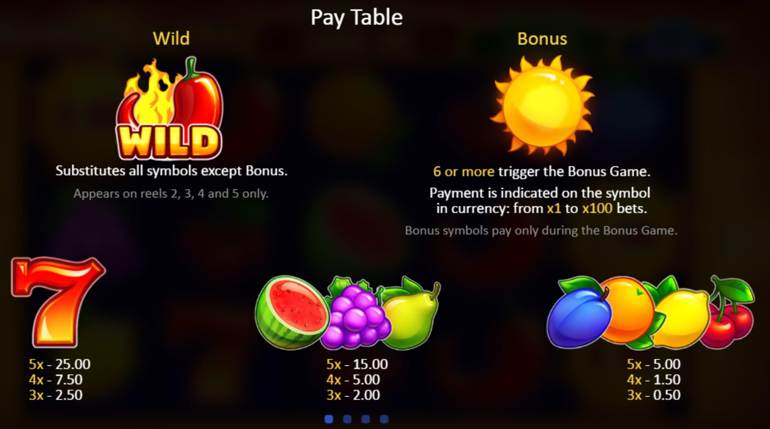 Sunny Fruits Hold and Win Slot Symbols