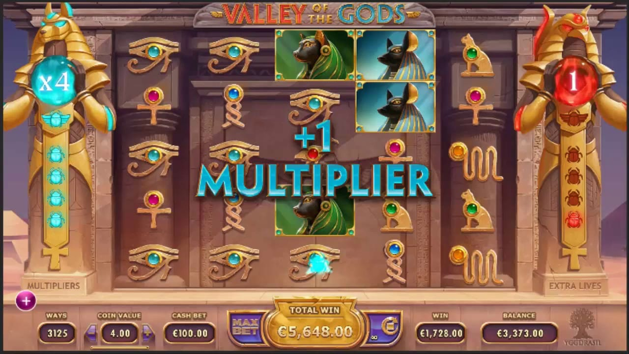 Valley of the Gods slots Mega Reel