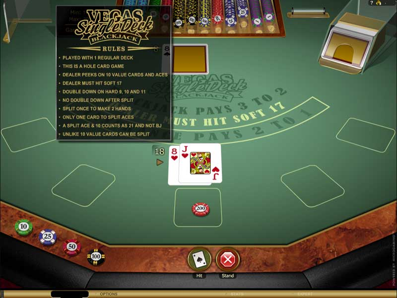 Vegas Single Deck Blackjack Online