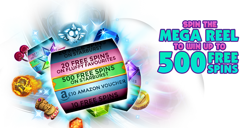 Spin the Mega Reel to win up to 500 Free Spins on Starburst
